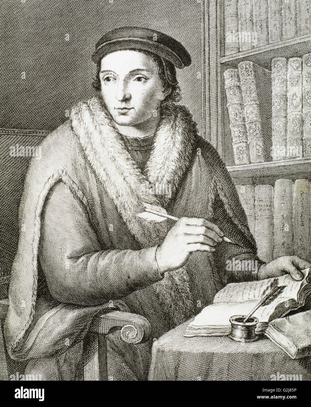 Juan Luis Vives (1493-1540). Valencian scholar and humanist. Portrait. Engraving. - Stock Image