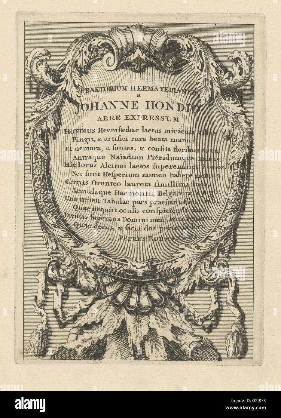 Cartouche with Latin text, Johannes Hondius, Pieter Burman, 1700 - 1799 - Stock Image