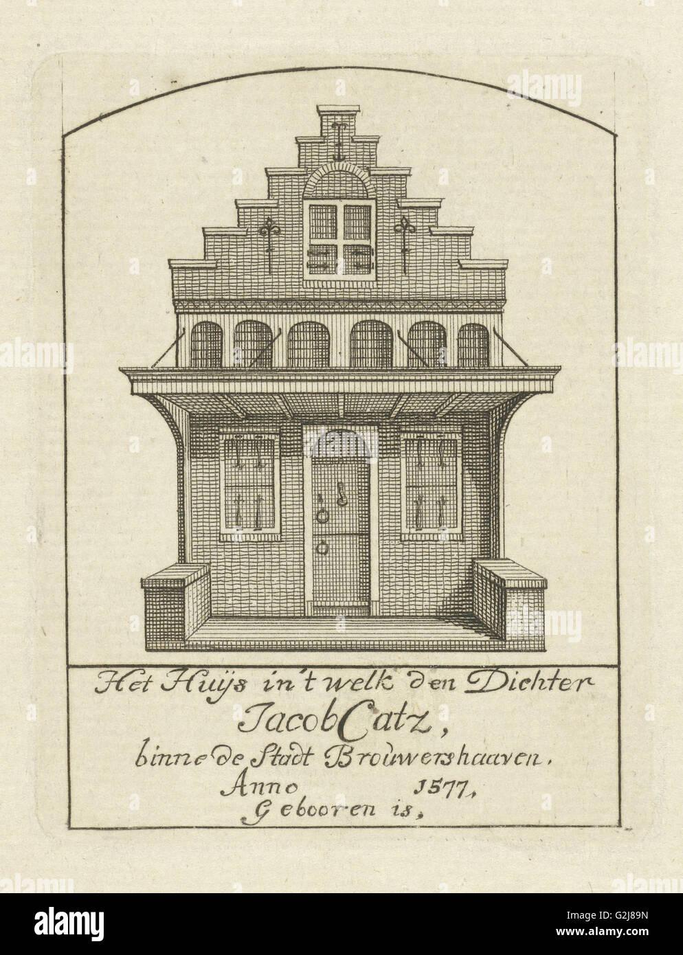 House with gable, Jan Caspar Philips, 1736 - 1775 - Stock Image