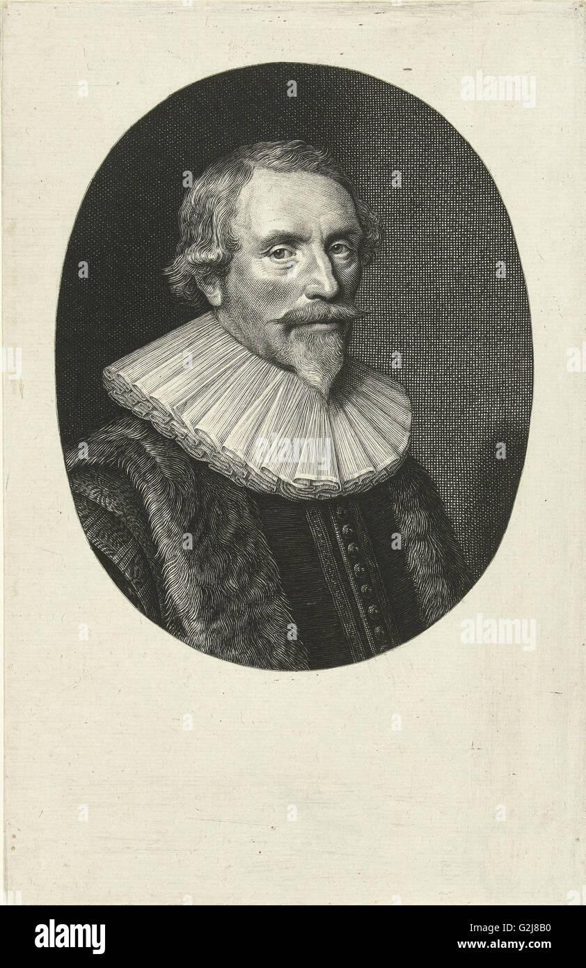 Portrait of Jacob Cats at the age of 57, Willem Jacobsz. Delff, Michiel Jansz van Mierevelt, 1635 - Stock Image