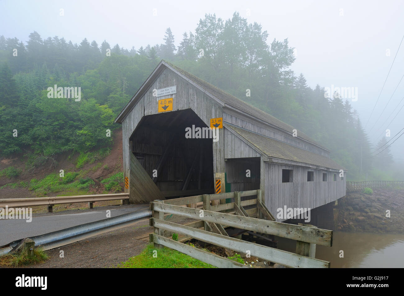 Vaughn Creek #1 , Irish River Covered bridge Saint Martins New Brunswick Canada - Stock Image