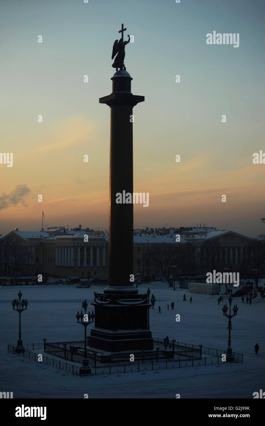 Russia. Saint Petersburg. Alexander column in the Palace Square. It was designed by Auguste de Montferrand (1786 - Stock Image