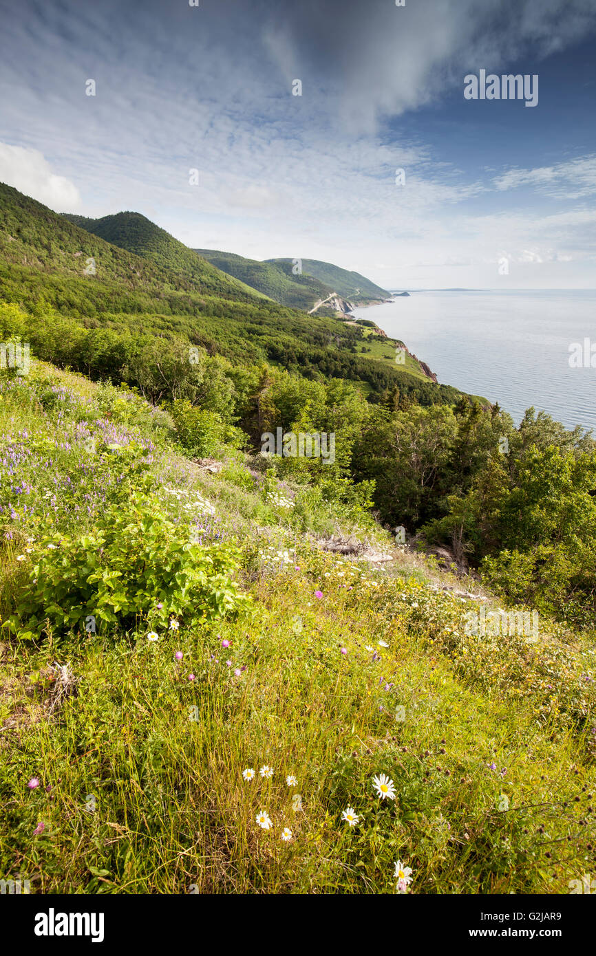 Scene from the Veteran Monument Viewpoint in Cape Breton Highlands National Park, Nova Scotial, Canada - Stock Image
