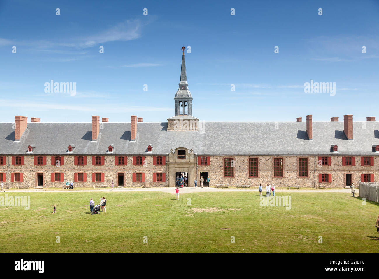 King's Bastion at the Fortress of Louisbourg National Historic Site in Nova Scotia - Stock Image
