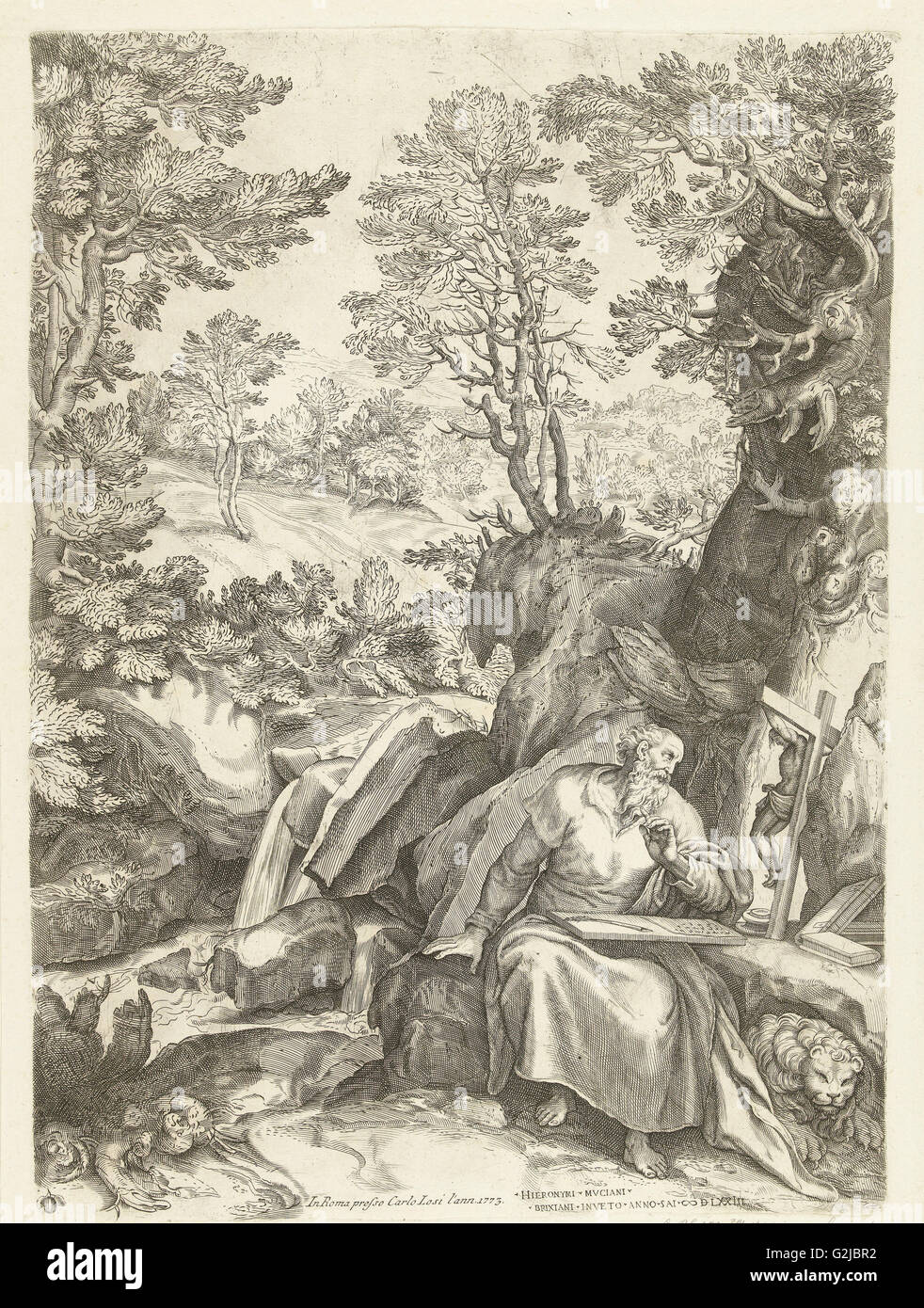 Landscape with St. Jerome who translates the Bible, Cornelis Cort, Carlo Losi, 1573 - Stock Image