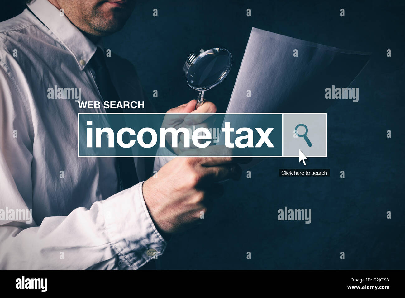 Web search bar glossary term - income tax definition in internet glossary. - Stock Image