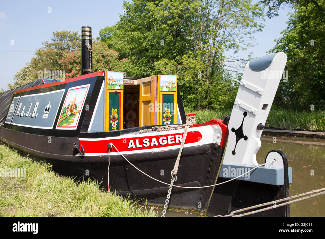 Traditional narrowboat butty on the Ashby Canal, Leicestershire, England, UK - Stock Image