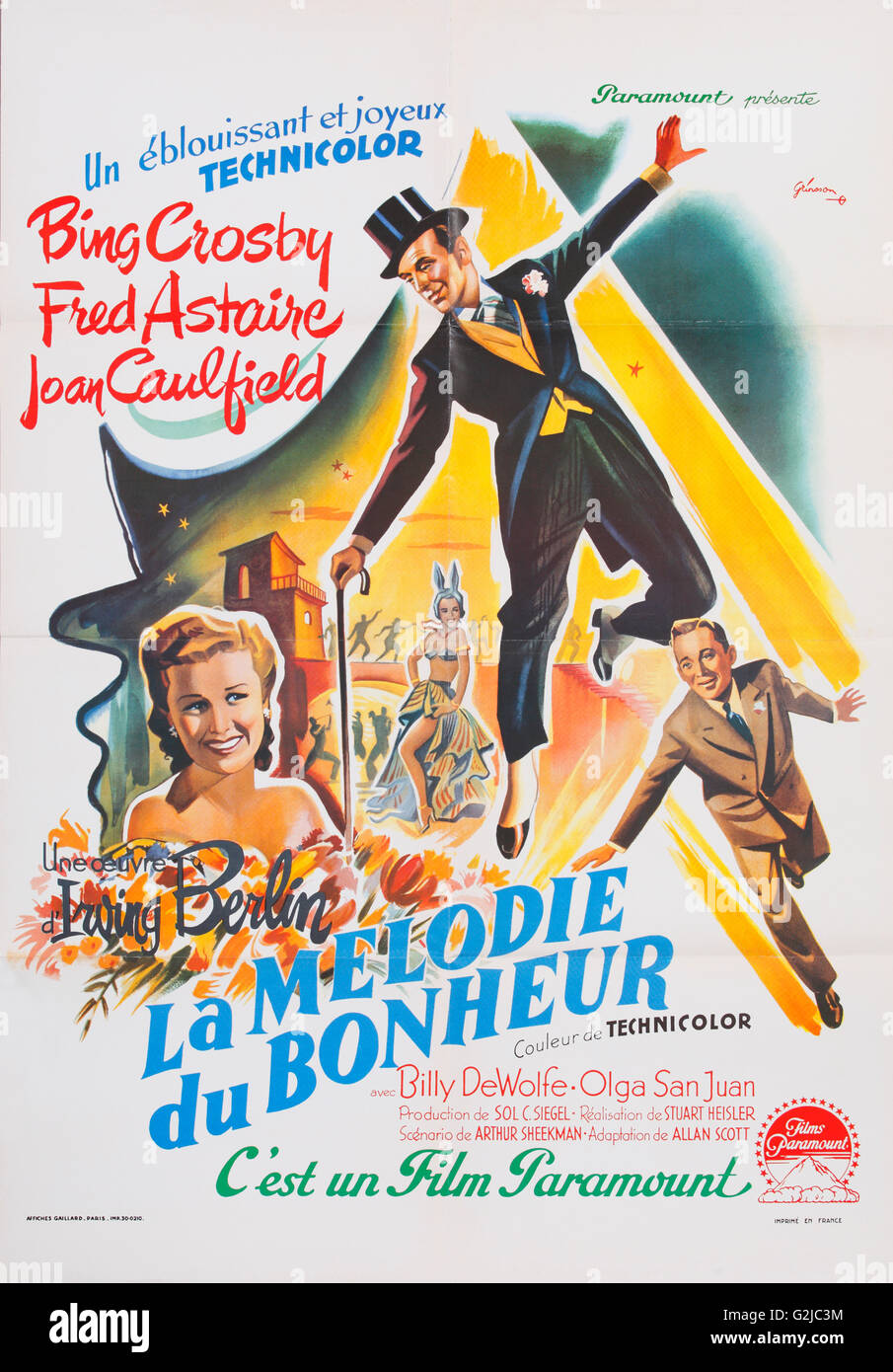 Old French Film Poster For La Melodie Du Bonheur Blue