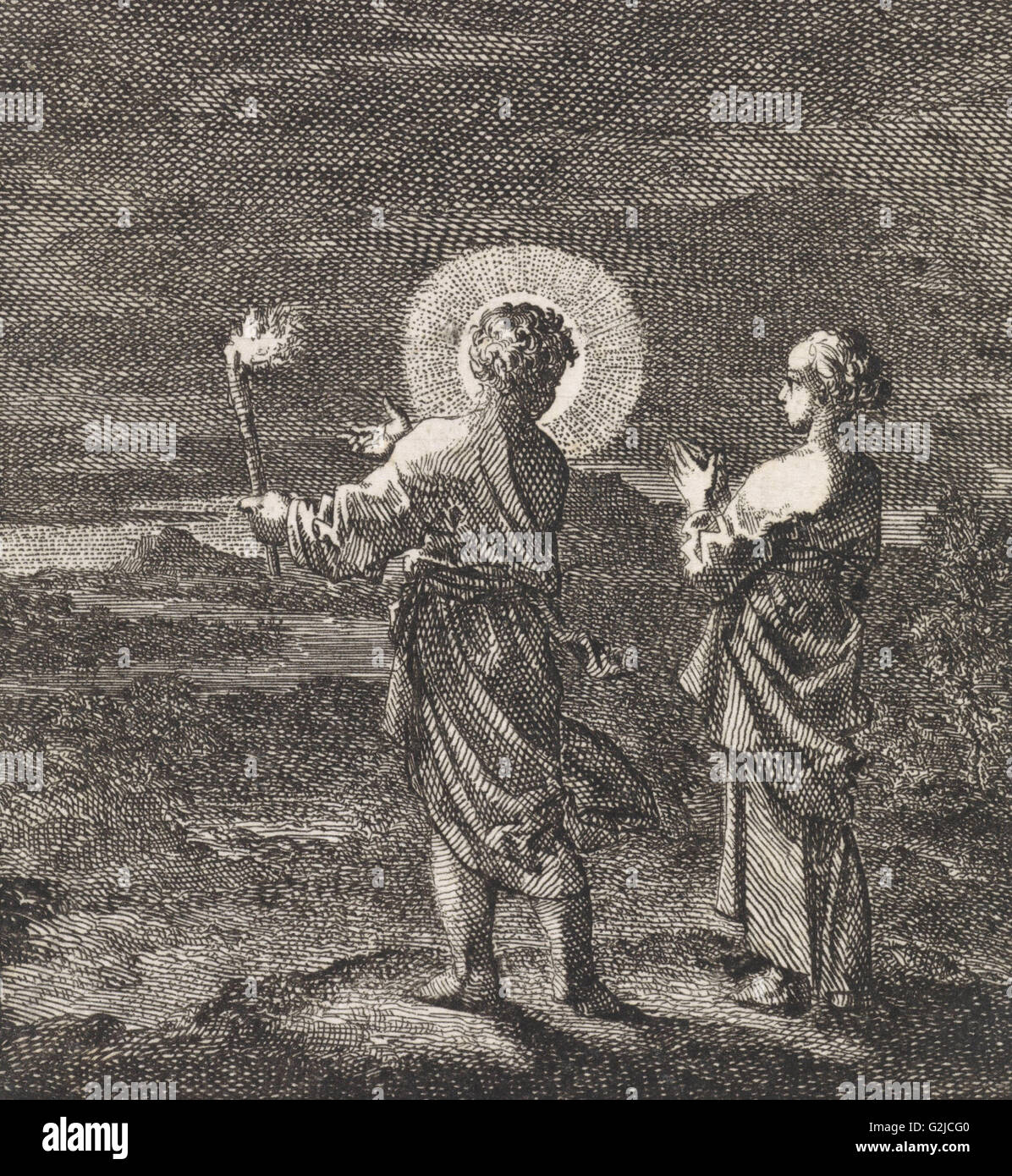Christ illuminates the darkness with a torch for the personified soul, Jan Luyken, 1714 - Stock Image