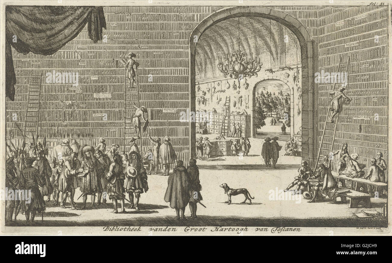 Library and curiosities of the Grand Duke of Tuscany, Jan Luyken, 1689 - Stock Image