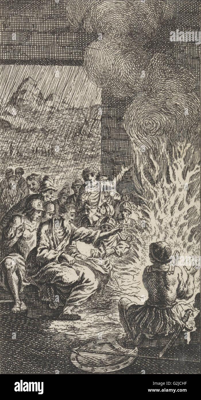 Paul is bitten by a viper, Jan Luyken, Anonymous, 1712 - Stock Image