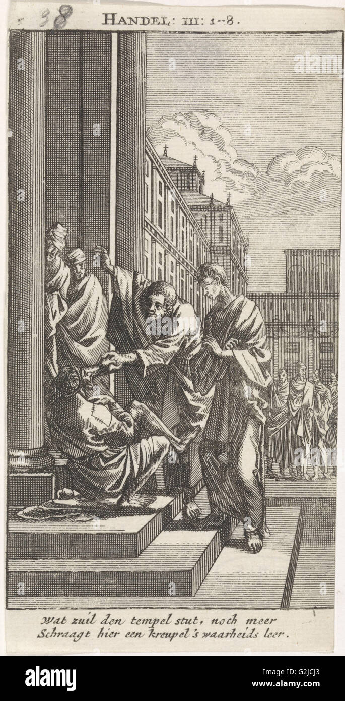Peter and John heal a crippled person, Jan Luyken, Anonymous, 1712 - Stock Image