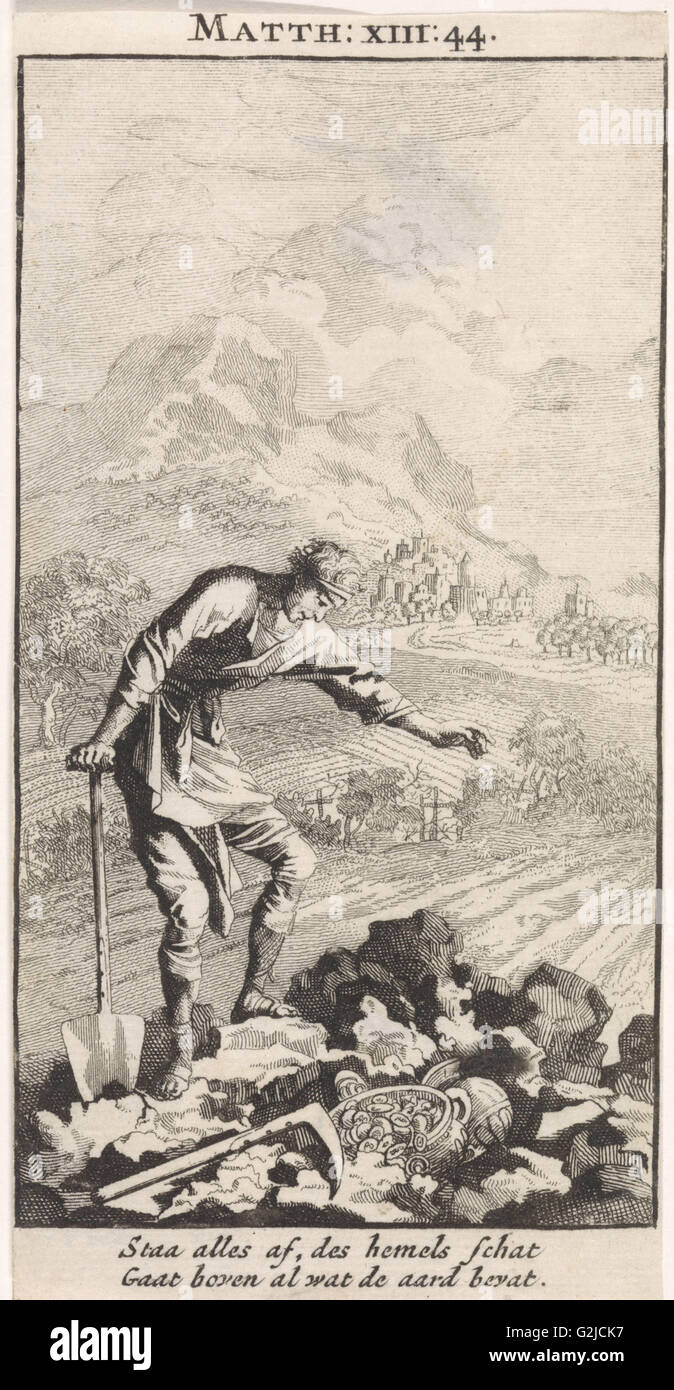 Parable of the treasure in the field, Jan Luyken, 1712 - Stock Image