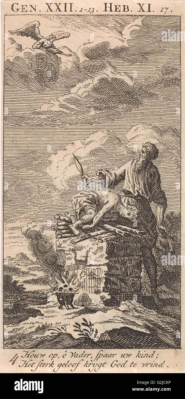 Sacrifice of Abraham, Jan Luyken, 1712 - Stock Image