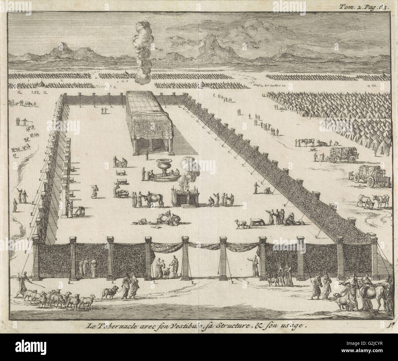 View of the court and the Tabernacle, Jan Luyken, Pieter Mortier, 1705 - Stock Image