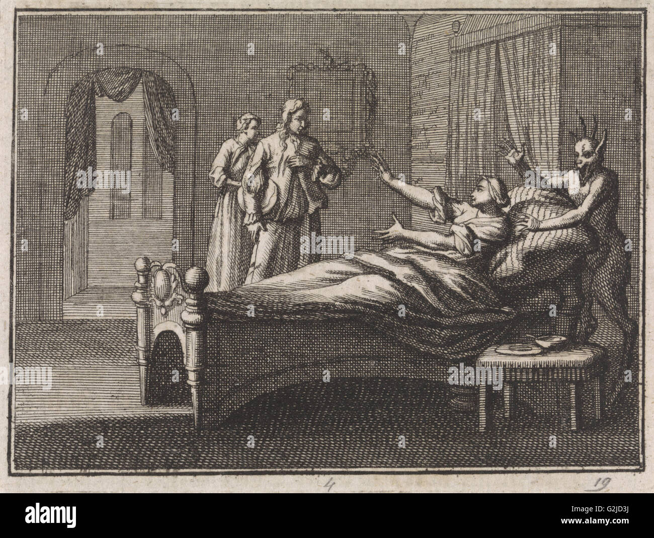 Sick woman receives her lover, Caspar Luyken, Christoph Weigel, 1704 - Stock Image