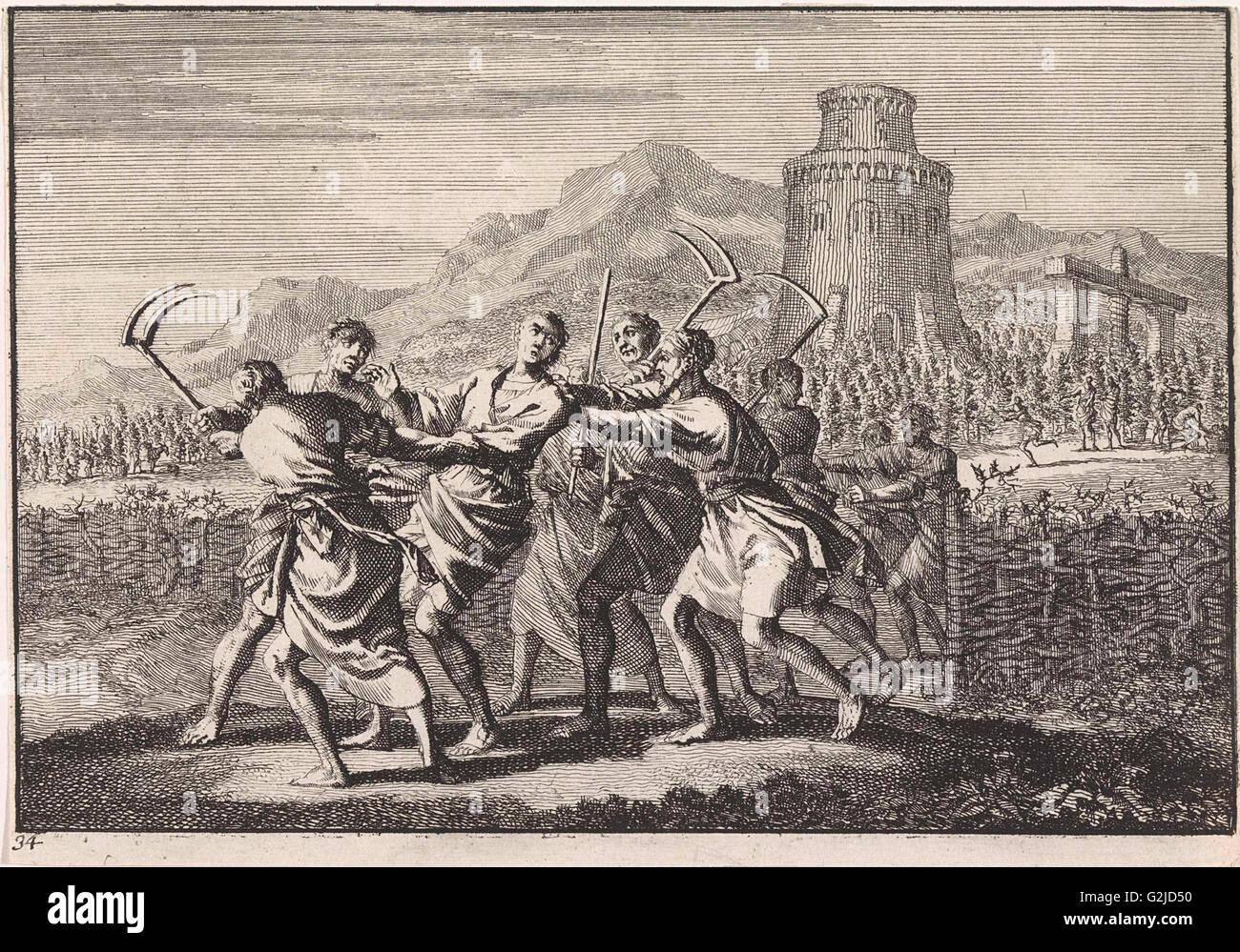 Parable of the tenants of the vineyard, Jan Luyken, 1703 - Stock Image