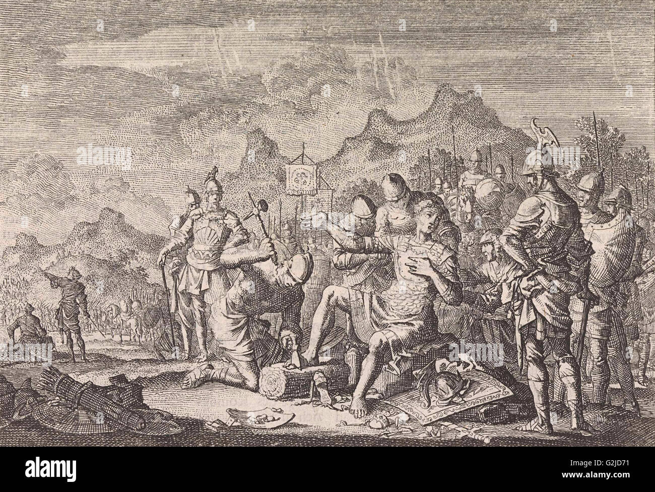 Mutilation of Adonibezek, Jan Luyken, Pieter Mortier, 1703 - 1762 - Stock Image