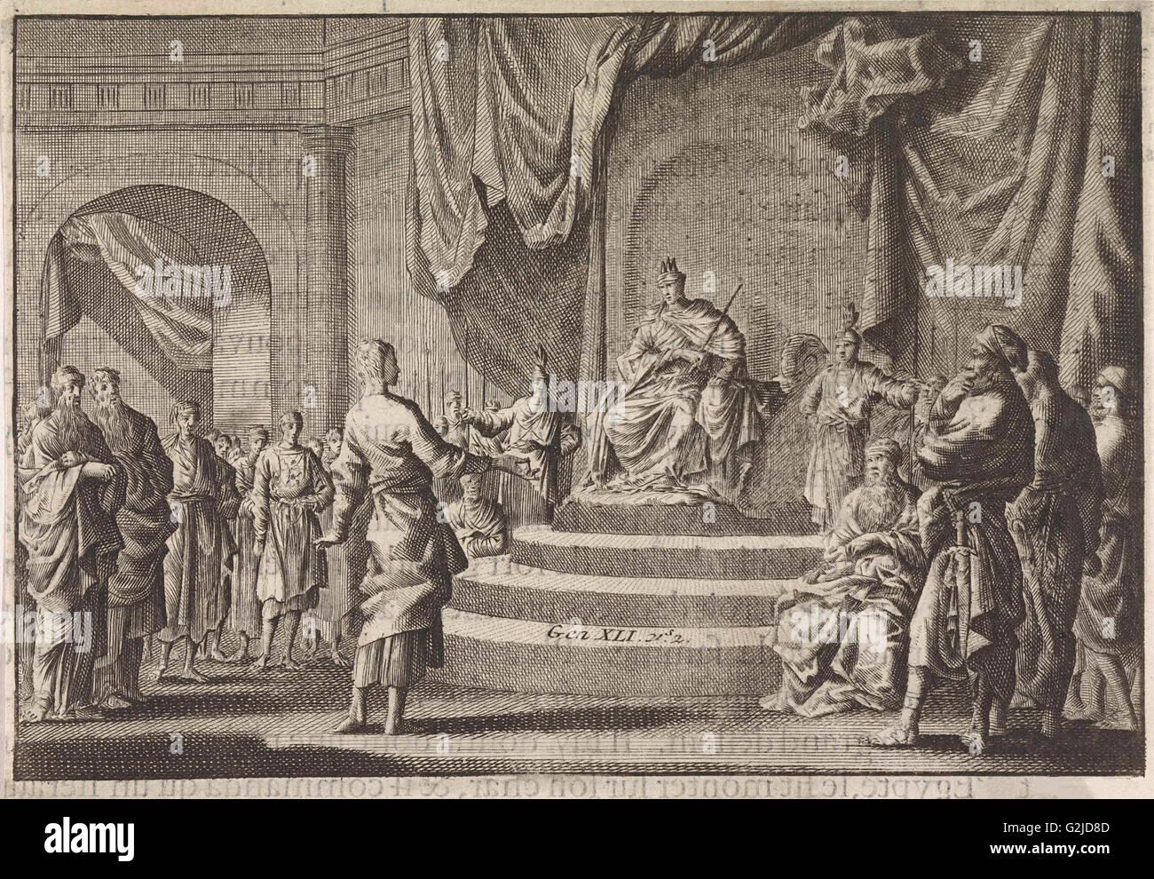 Joseph explains the dreams of the Pharaoh, Jan Luyken, Pieter Mortier, 1703 - 1762 - Stock Image