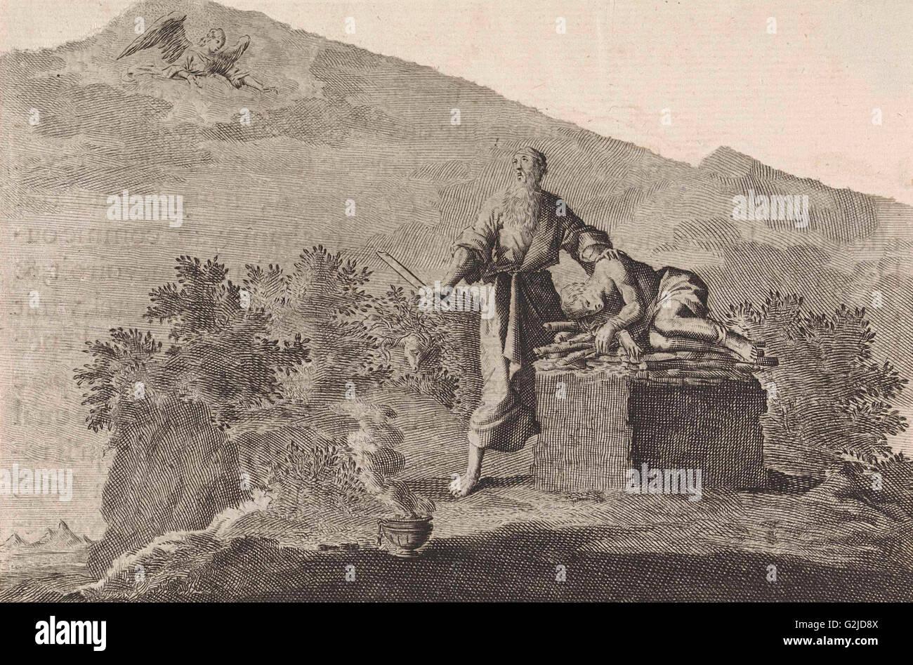 Sacrifice of Isaac, Jan Luyken, Pieter Mortier, 1703 - 1762 - Stock Image