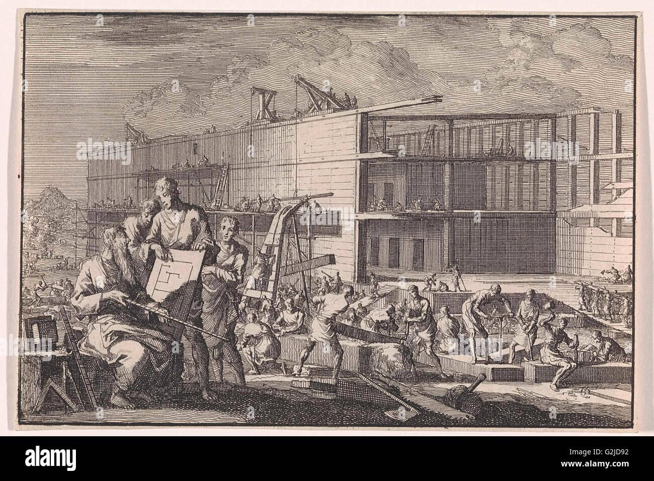 Construction of Noah's Ark, Jan Luyken, Pieter Mortier, 1703 - Stock Image