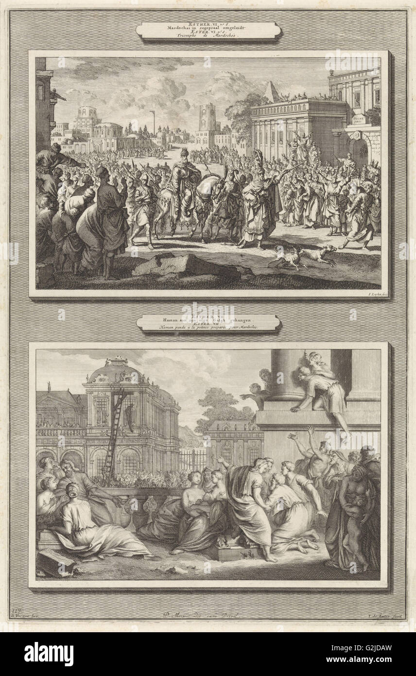 Mordecai is honored in Babylon and the execution of Haman, print maker: Jan Luyken, print maker: Jacob de Later, - Stock Image