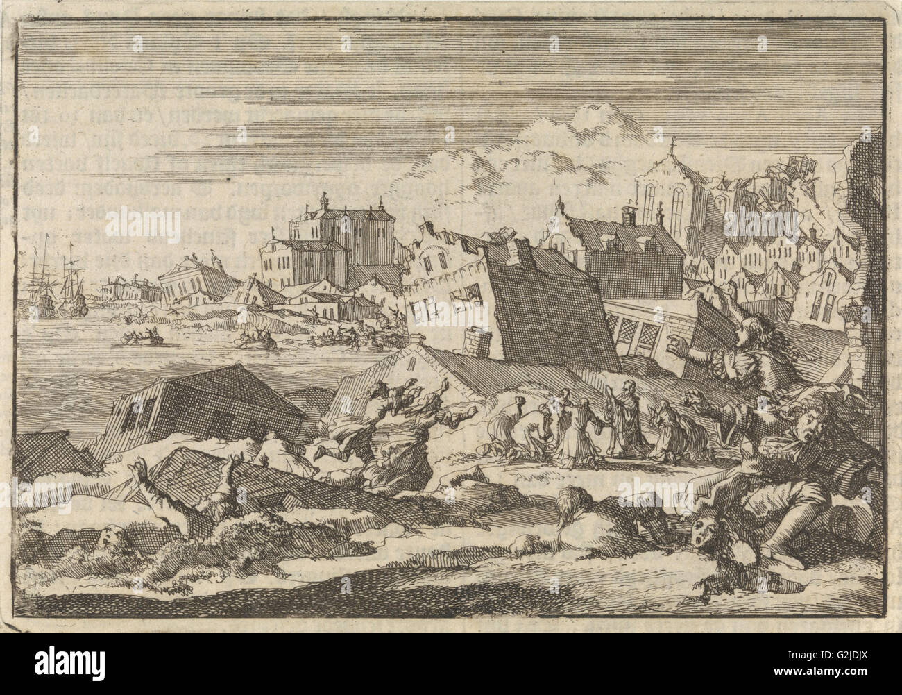 Earthquake in Jamaica where the city Port Royal is destroyed, 1615, Jan  Luyken, Pieter van der Aa I, 1698