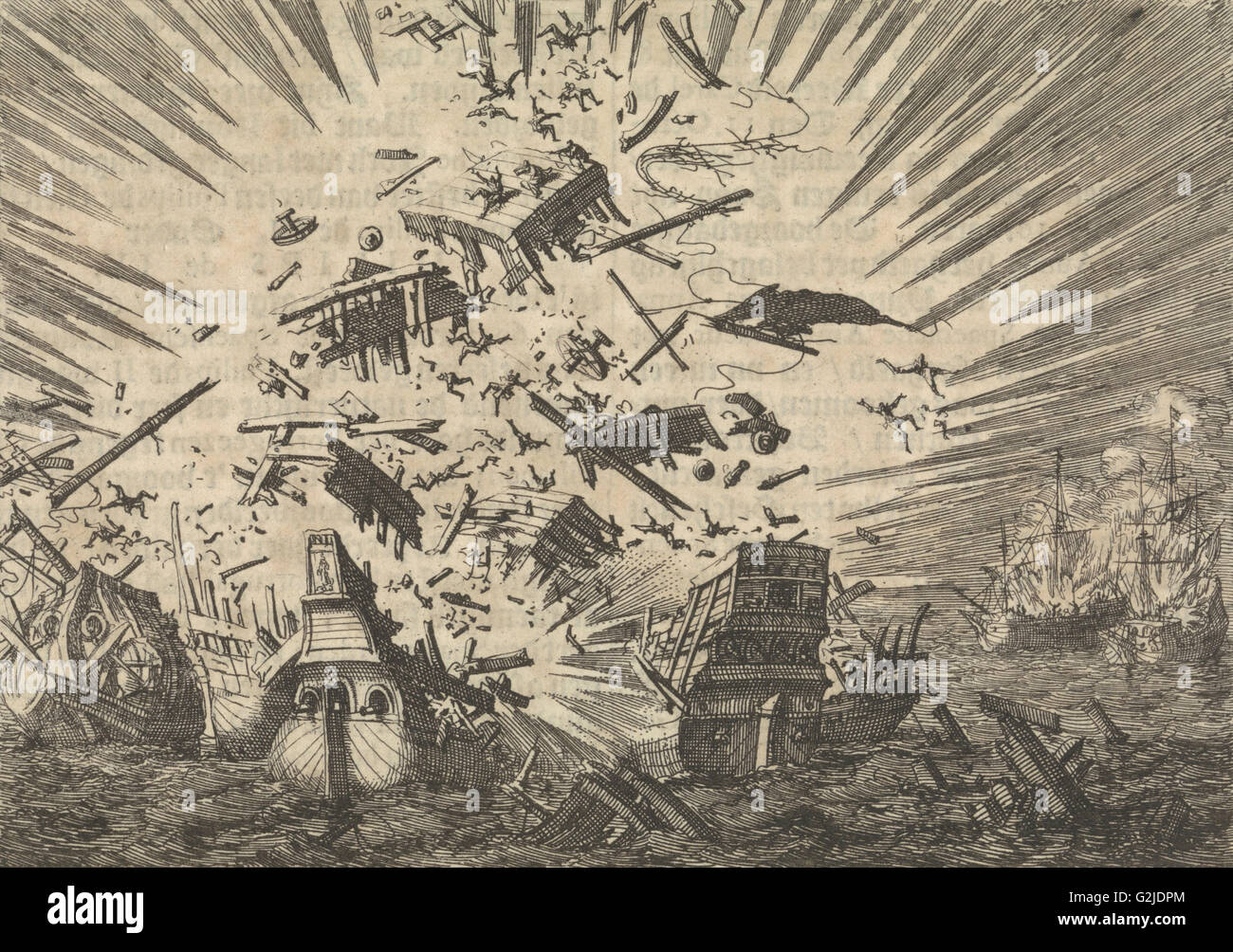 "The Dutch ship ""Walcheren"" explodes along with five Portuguese ships, 1631, Jan Luyken, Pieter van der Aa (I), 1698 Stock Photo"