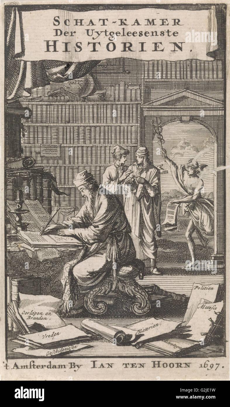 Scholar writing in his study, Jan Luyken, Jan Claesz ten Hoorn, 1697 - Stock Image