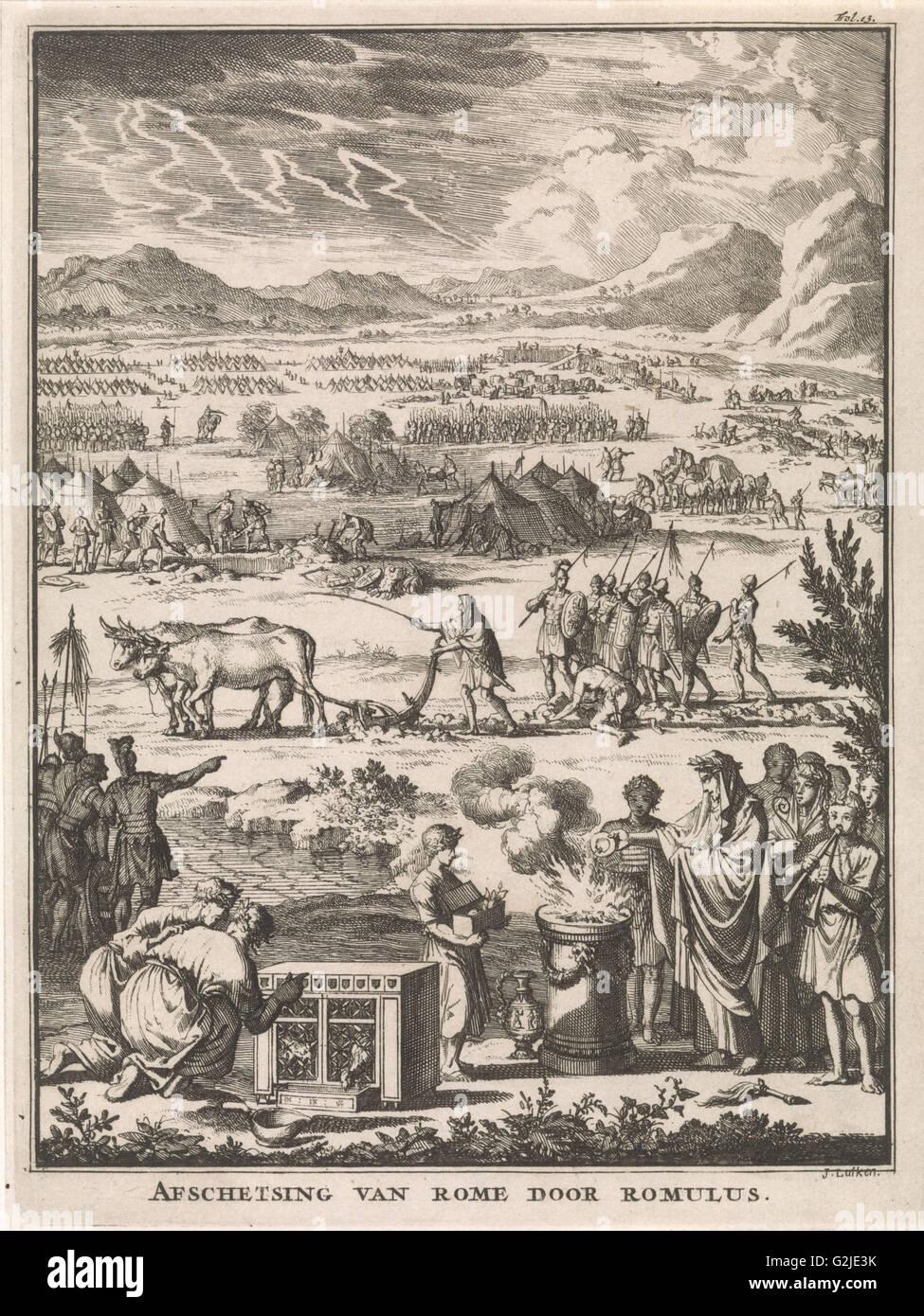 Romulus founding Rome, Jan Luyken, François Halma, Willem van de Water, 1697 - Stock Image