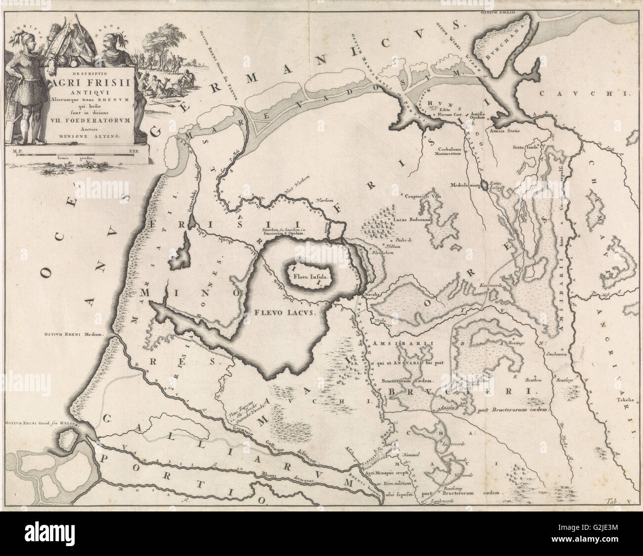 Historical map of Netherlands with the areas of the Batavians and Frisians V, Jan Luyken, Henricus Wetstein, 1697 - Stock Image