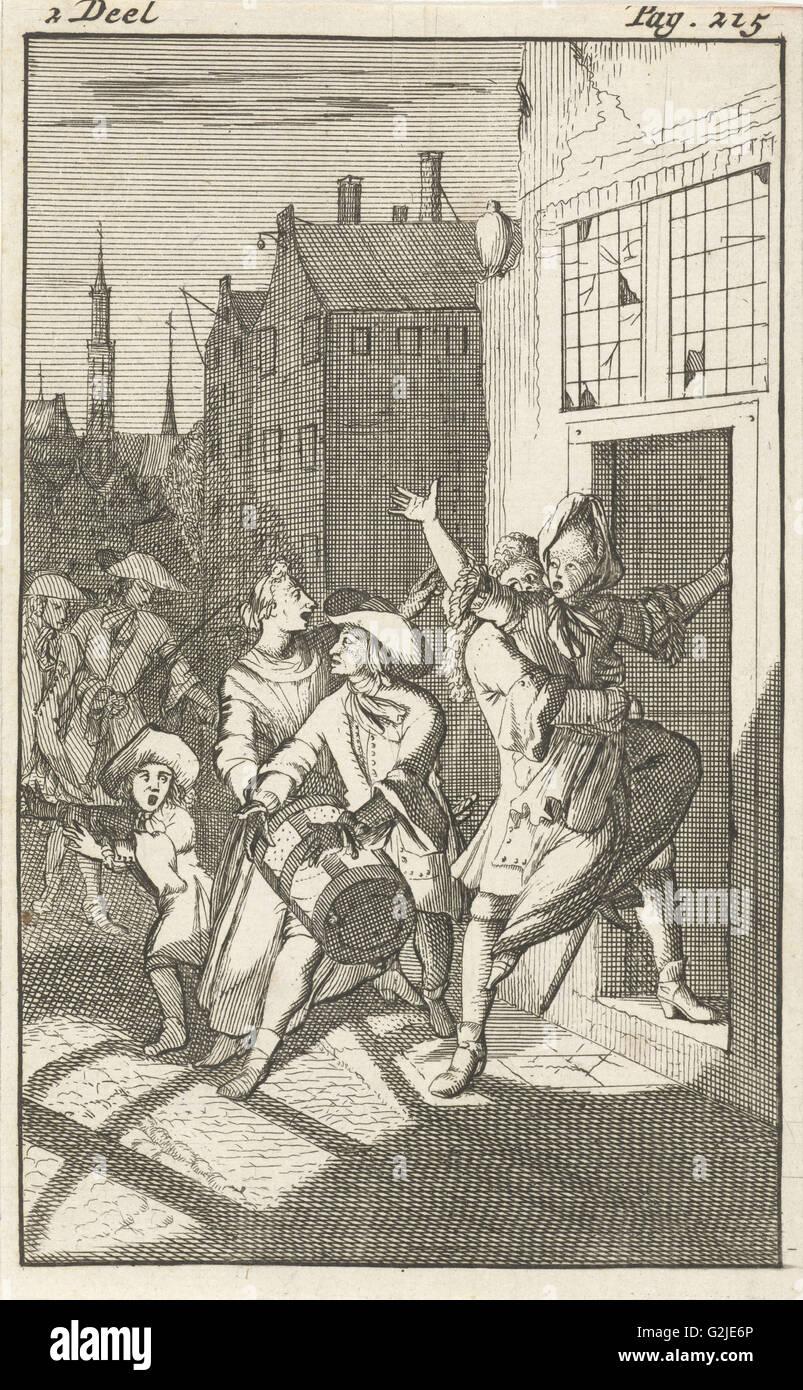 Rosamire kidnapped by Clitander, Caspar Luyken, Pieter van Rijschooten, 1695 - Stock Image