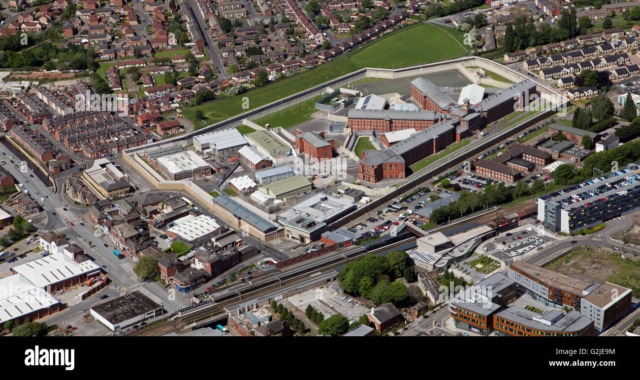 aerial view of HM Prison Wakefield, a category A jail in West Yorkshire, UK - Stock Image