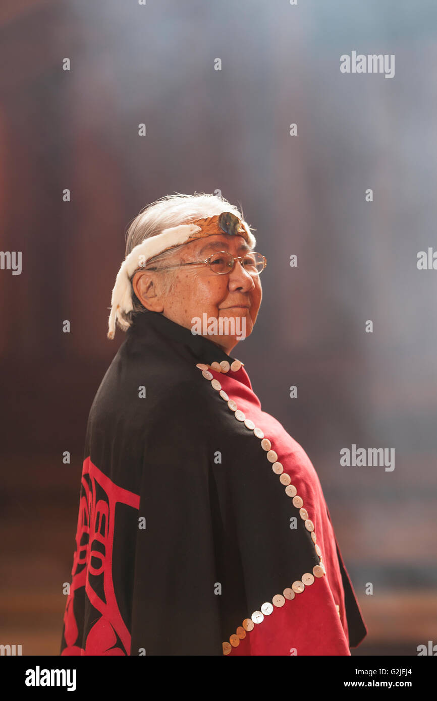 First nations matriarch respected elder Evelyn Windsor effectionately known 'aunty Evelyn' dons button blanket a Stock Photo