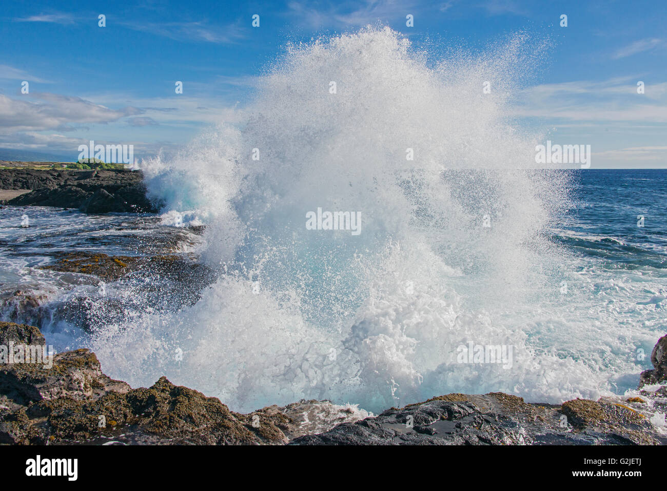 Pounding surf, Wawaloli Beach Park, Hawaii Island (Big Island). Hawaiian Islands, central Pacific Ocean, USA - Stock Image