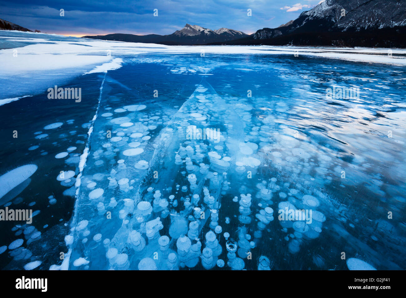 The bubbles are formed by methane gas rising from the bottom of the lake as the lake freezes. - Stock Image
