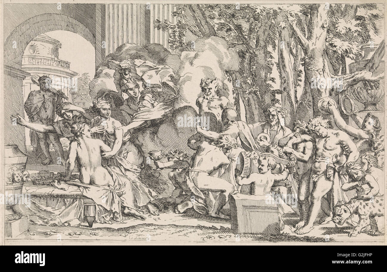 Minerva protects the innocence against the temptation, Johannes Glauber, 1656 - 1726 Stock Photo