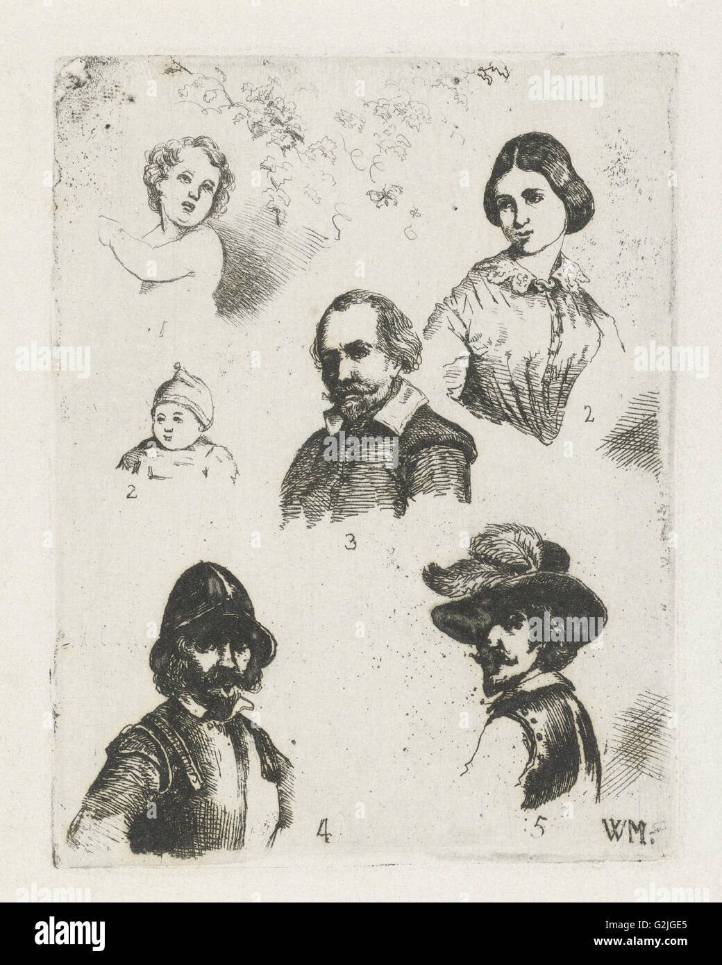 Study Sheet with six busts, Christiaan Wilhelmus Moorrees, 1811 - 1867 - Stock Image