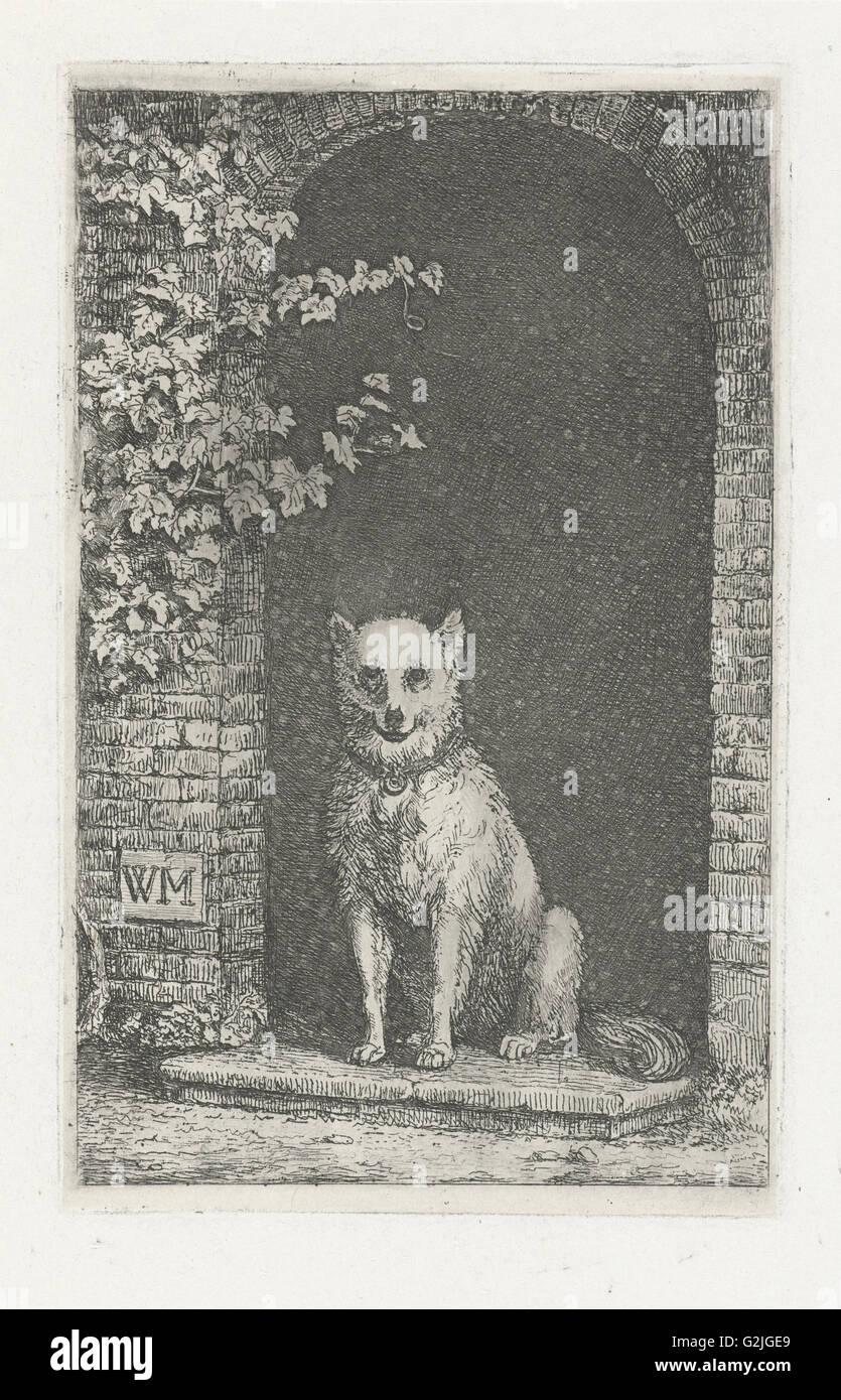 Dog sitting on the doorstep, Christiaan Wilhelmus Moorrees, 1811 - 1867 - Stock Image