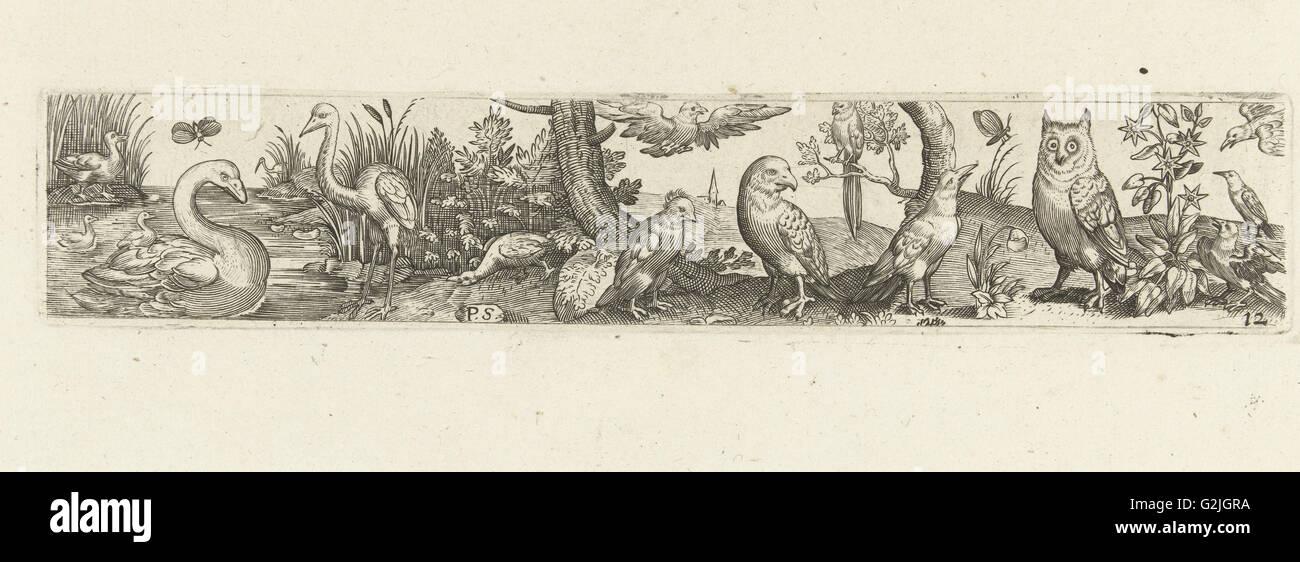 Frieze with fifteen birds, Pieter Serwouters, Hans Collaert (I), Marcus Geeraerts, c. 1607 - Stock Image