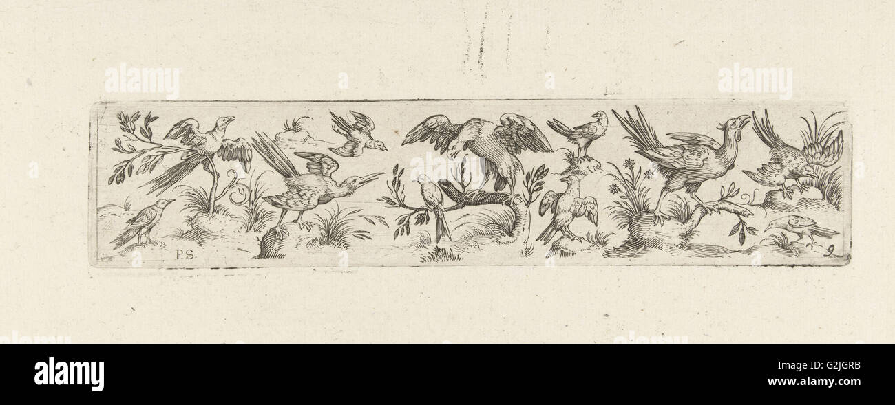 Frieze with eleven birds, in the middle is a large bird on a branch, print maker: Pieter Serwouters, Hans Collaert - Stock Image