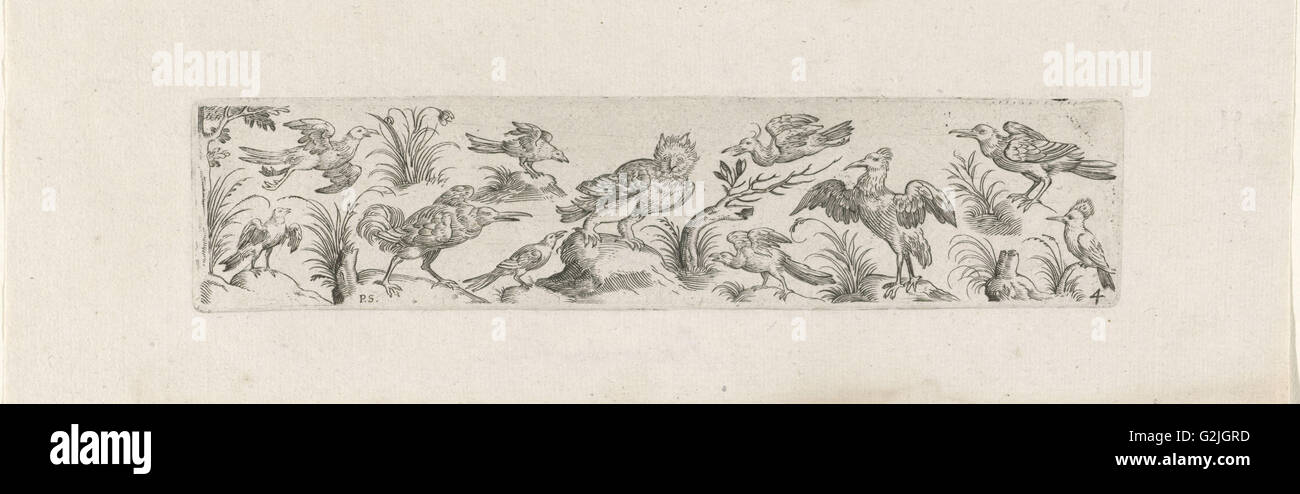 Frieze with eleven birds, at the left end of the frieze is a tree, print maker: Pieter Serwouters, Hans Collaert - Stock Image