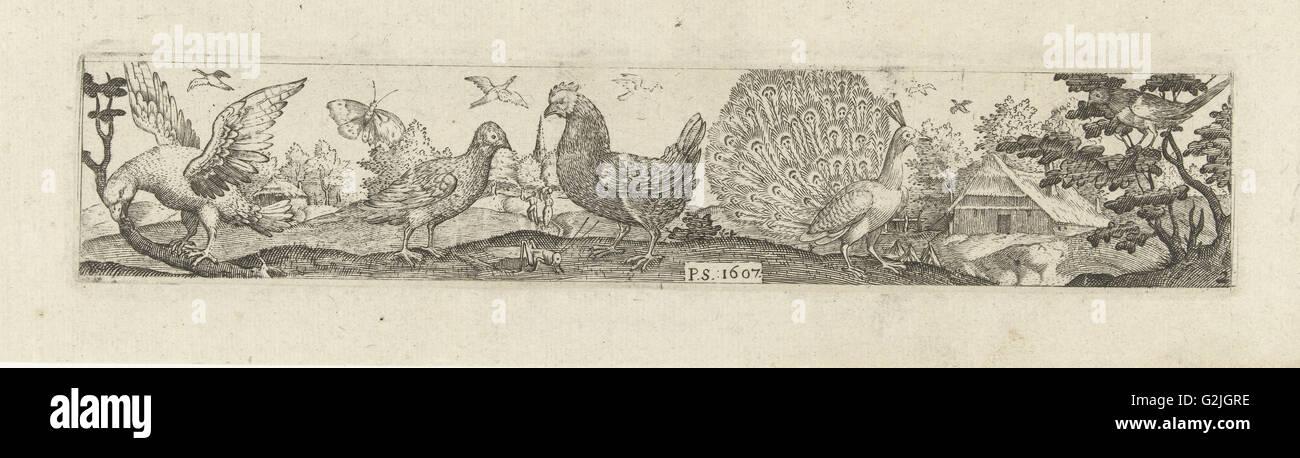 Frieze with nine birds, Pieter Serwouters, Hans Collaert (I), Marcus Geeraerts, 1607 - Stock Image