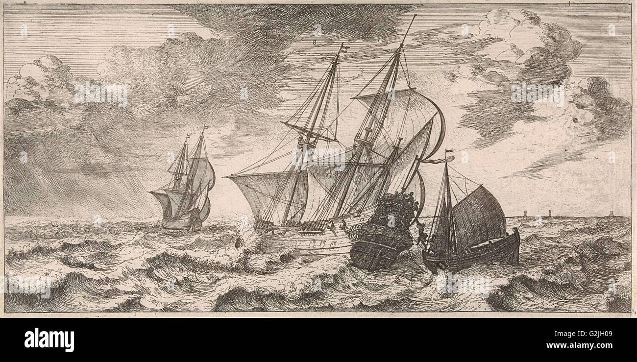 A pilot is taken at sea aboard from a pilot boat, print maker: Joost van Geel (attributed to), Dating 1665 - Stock Image
