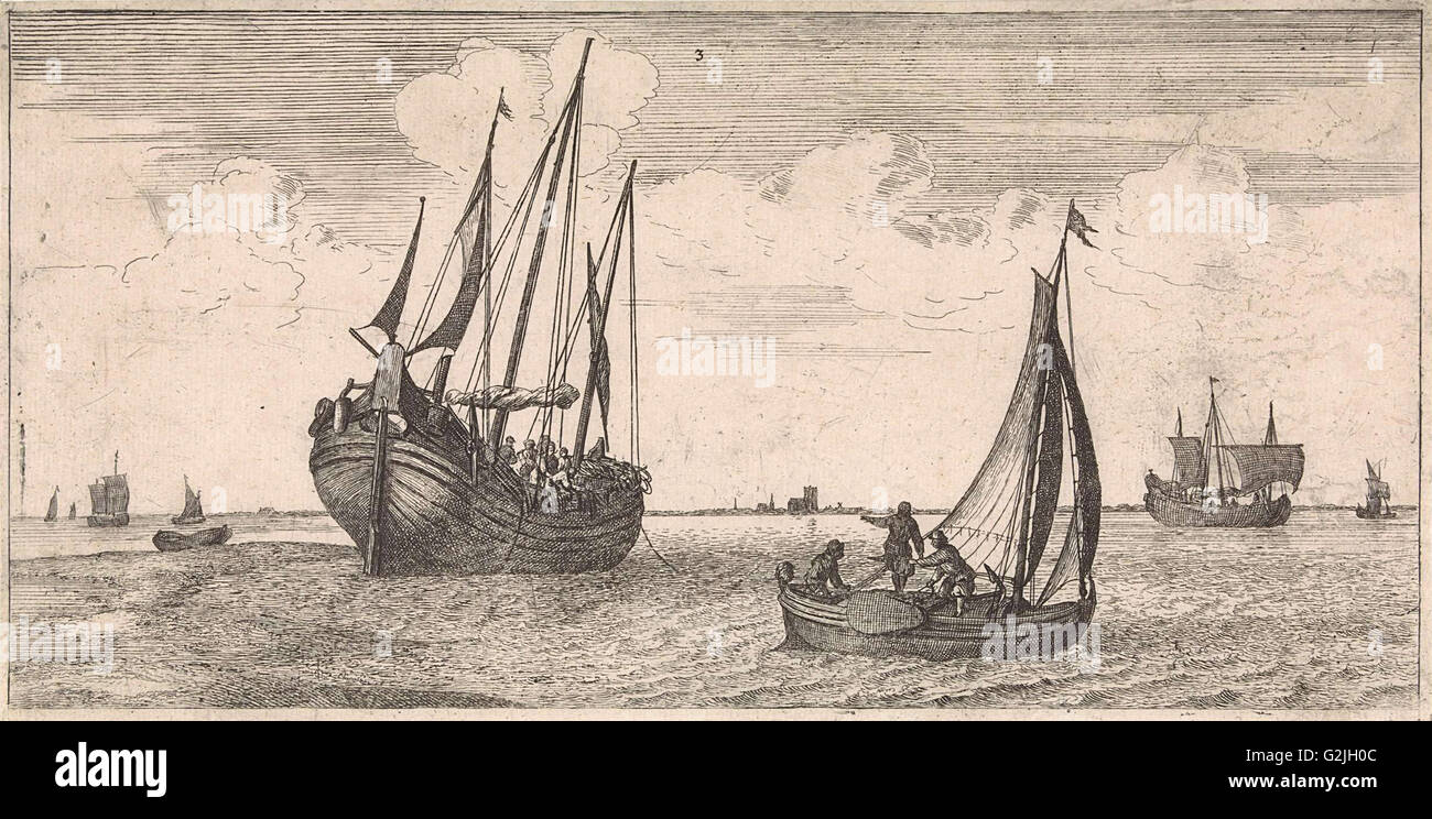 Mooring of the mail boat, print maker: Joost van Geel attributed to, Jacob Quack, 1665 - Stock Image