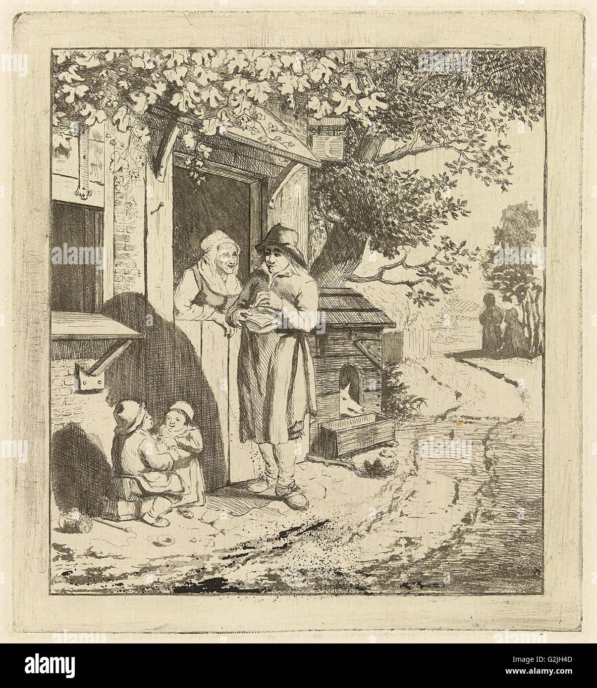 Man at the door of an inn, Marie Lambertine Coclers, 1776 - 1815 - Stock Image