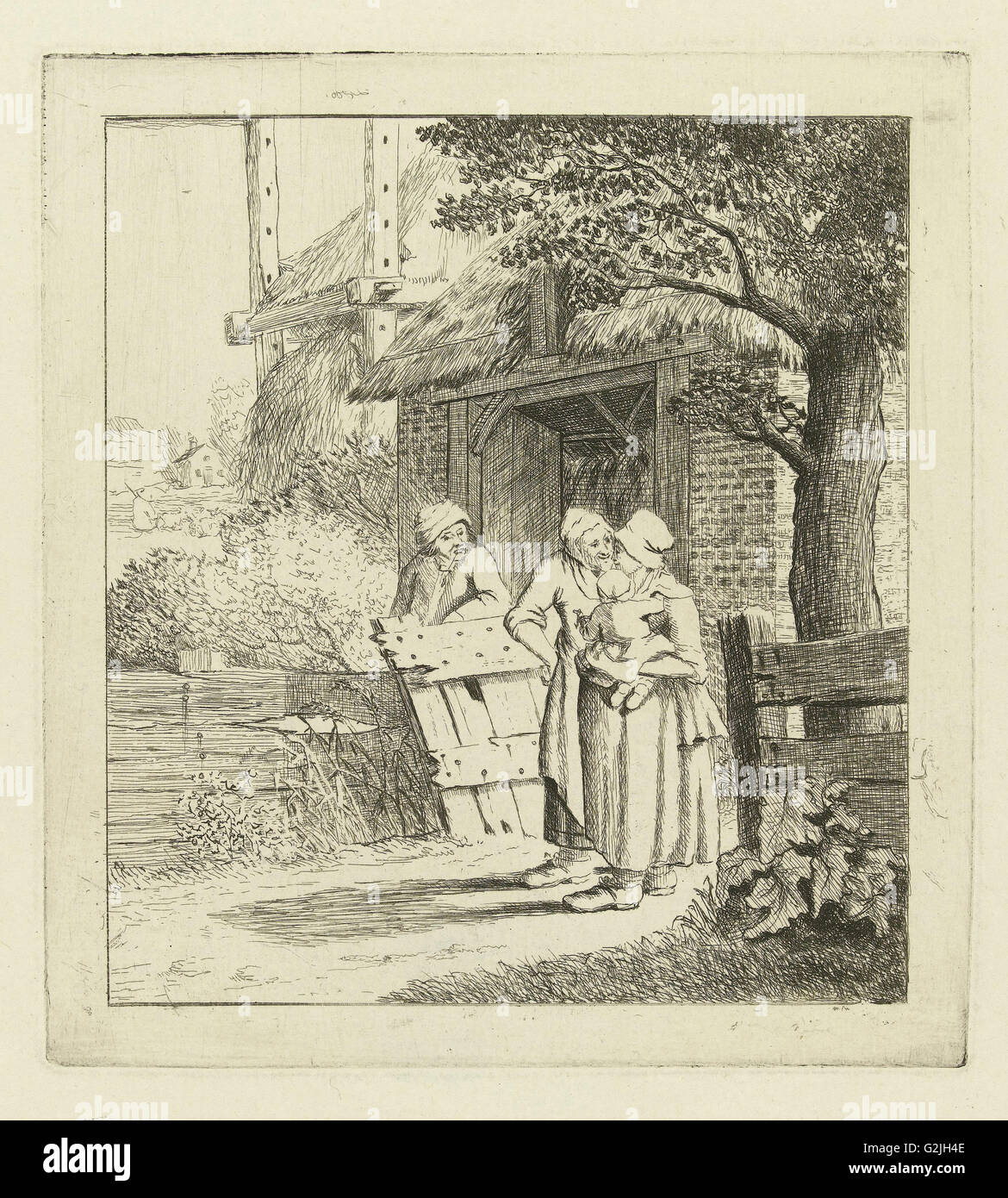 Two women and a man on a farm, Marie Lambertine Coclers, c. 1776 - c. 1815 - Stock Image