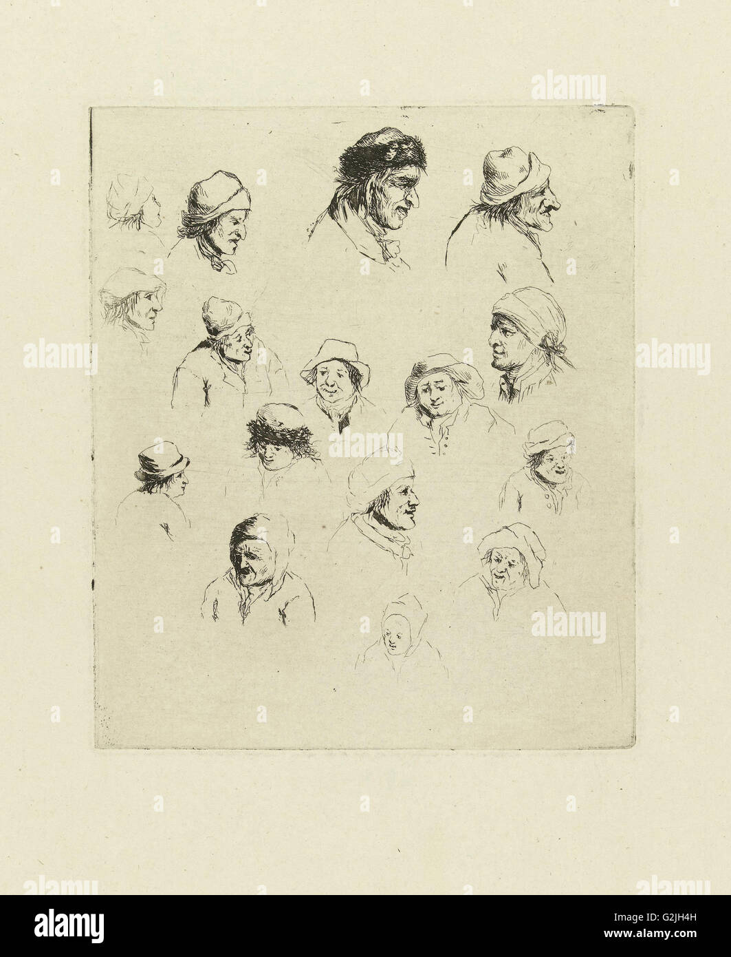 Study Journal sixteen heads, Marie Lambertine Coclers, 1776 - 1815 - Stock Image