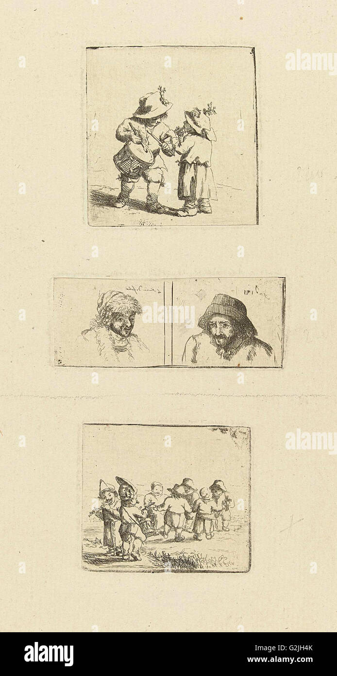 Musicerende children and two pivotal studies, Marie Lambertine Coclers, 1776 - 1815 - Stock Image