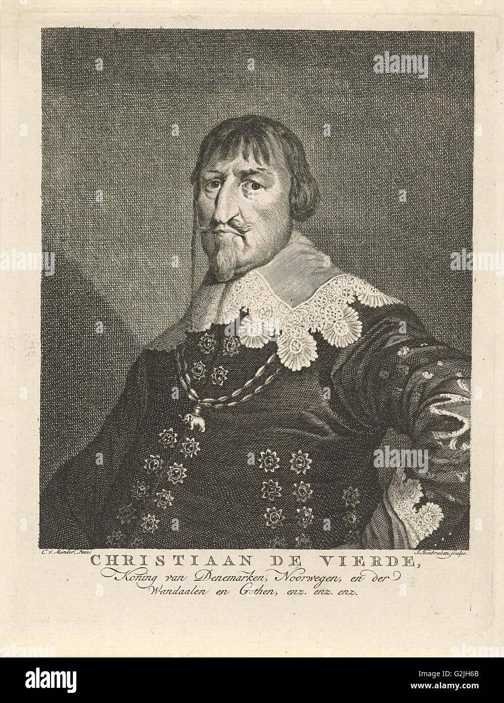 Portrait of King Christian IV of Denmark, Jacob Houbraken, 1708 - 1780 - Stock Image